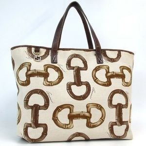 Authentic GUCCI Horse bit pattern Tote Bag canvas